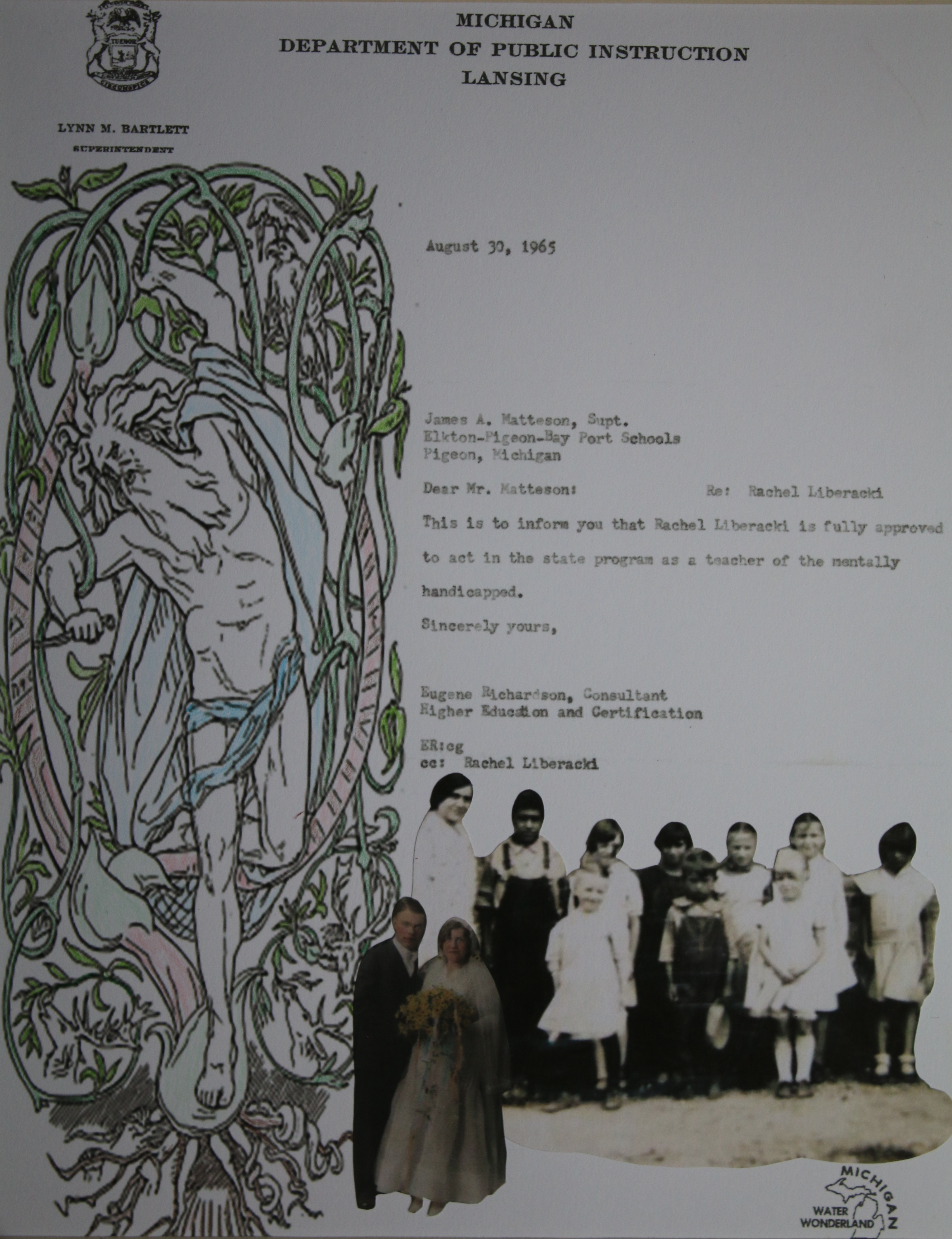The artwork includes images of Rachel Wilcox Liberacki with her students in circa 1930, her marriage to Alexander Liberacki in 1931, a 1965 letter certifying she can teach special education, and an image of the god Woden.